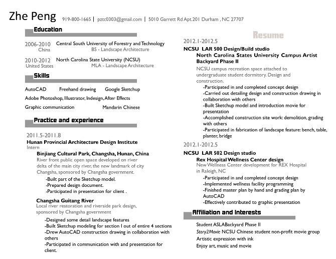 resume for zhe peng zhepeng